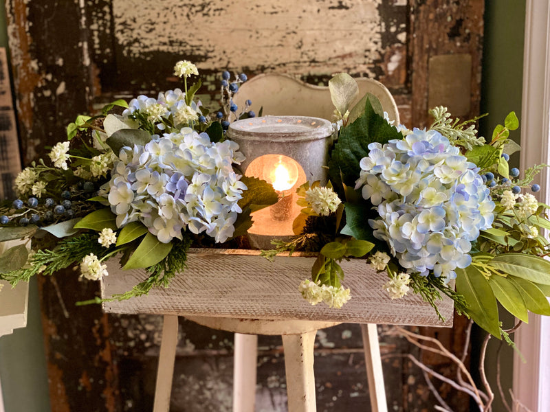 The Meadow Farmhouse Lantern Centerpiece For Dining Table, Blue & white hydrangea arrangement, Long table floral arrangement