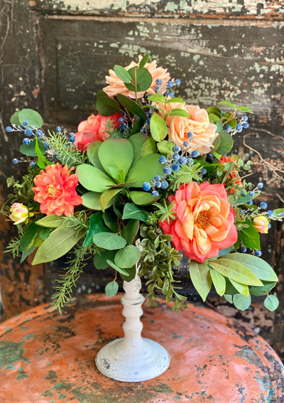 The Louisa Coral & Peach Garden Rose Centerpiece For Dining Table, Cottage Raised Arrangement, French country floral, mothers day gift