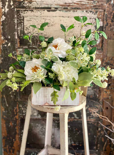 The Patrice Cream & Green Farmhouse Centerpiece For Table,White rose hydrangea arrangement, tabletop arrangement, Kitchen Centerpiece