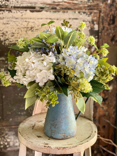 The Eleanor Blue & White Hydrangea Centerpiece For Dining Table, Cottage Pitcher Arrangement, French country garden, mothers day gift