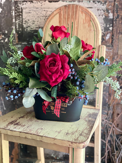 The Isabella Red Rose Centerpiece For Dining Table, Farmhouse winter decor, Christmas arrangement, French country cottage decor