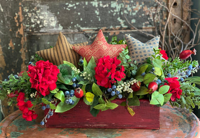The Mary Todd Fourth Of July Centerpiece for dining table, red white blue garden arrangement, rustic farmhouse centerpiece, Americana decor