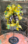 The Laurel Yellow & Black Lemon Summer Bow for Wreaths And Lanterns, Mailbox Bow, Swag bow, Farmhouse bow, Lemon Bow, summer Bow