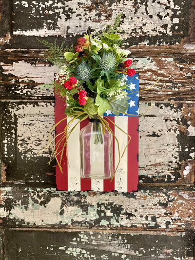 The Old Glory American Flag Wall Hanger~Fourth of July decor~American flag wall art~Farmhouse mason jar hanger~elegant red white blue