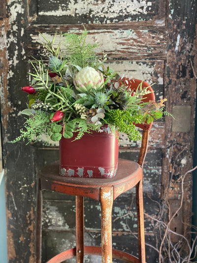 The Dasha All Season Centerpiece for dining table, mixed greens garden arrangement, rustic farmhouse centerpiece