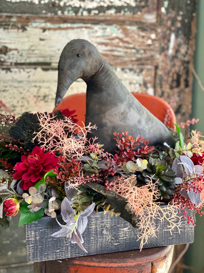 The Edgar Allen Crow Farmhouse Centerpiece For Table, Fall arrangement, Rustic arrangement, Primitive centerpiece, Halloween decor