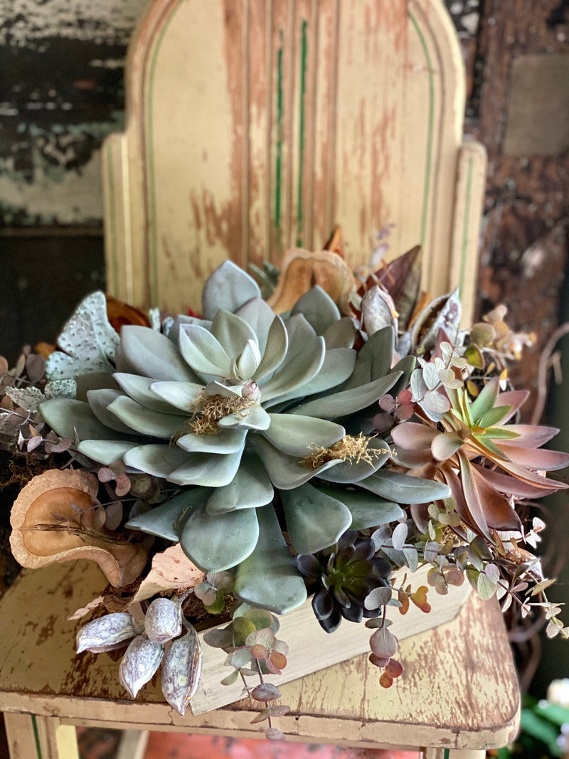 The Suri Succulent Centerpiece For Dining Table, year round centerpiece, farmhouse decor, rustic decor, Autumn centerpiece, fall floral