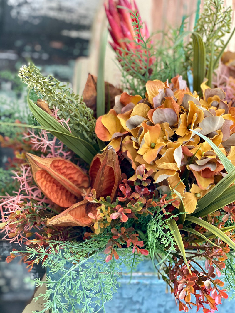 The Savannah Red & Yellow Garden Farmhouse Centerpiece For Table, Summer fall arrangement, Rustic arrangement, summer to fall transition