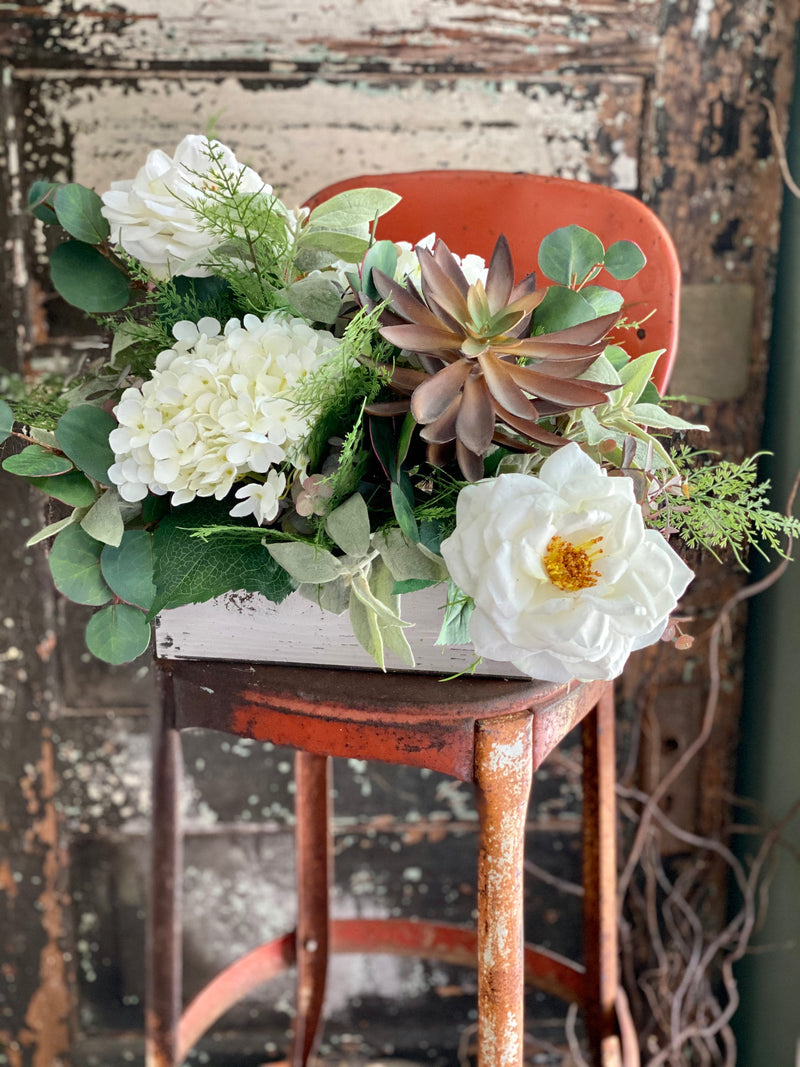 The Melissa Rustic Farmhouse White Centerpiece For Table~All season centerpiece~Natural green arrangement~white hydrangea wedding florals