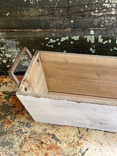 Long Whitewash Rectangular Wood Planter With Handles,Rustic primitive decor,fixer upper decor