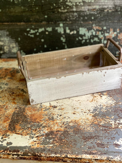 Distressed Whitewash Square Wood Planter With Handles,Rustic primitive decor,fixer upper decor