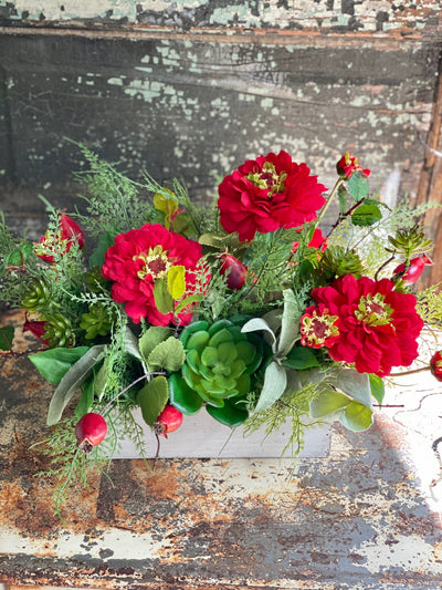 The Chloe Red Summer Centerpiece For Dining Table, Summer arrangement, Zinnia & succulent, farmhouse decor, rustic decor
