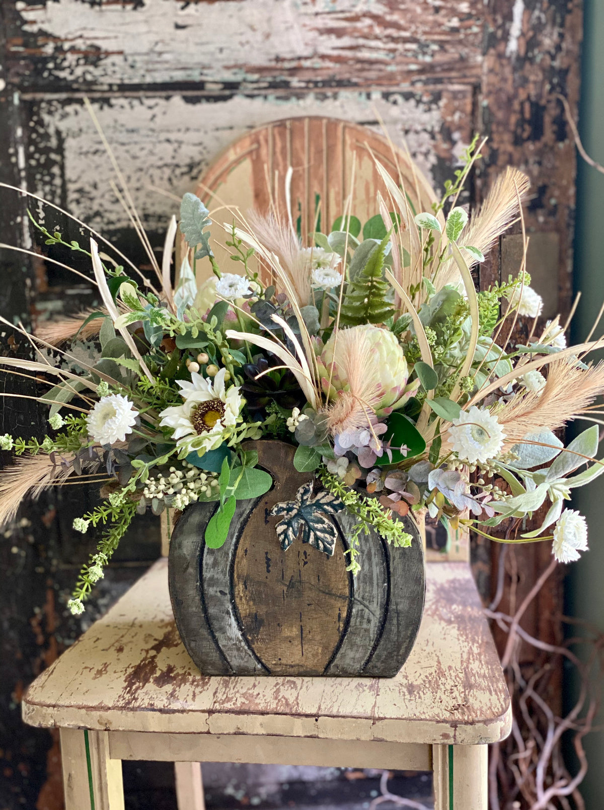 The Emory Cream & Green Farmhouse Pumpkin Centerpiece For Table, Fall arrangement, tabletop arrangement, Kitchen Centerpiece