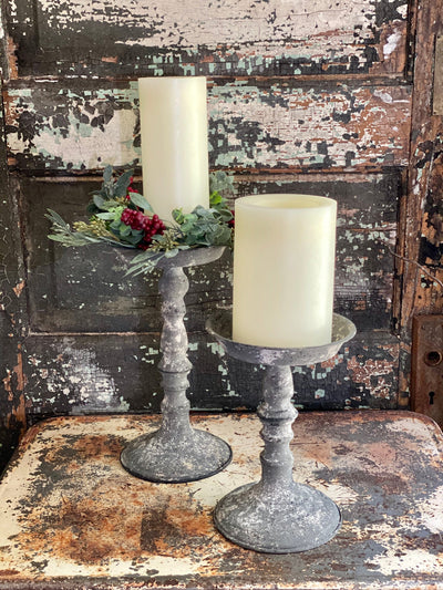 The Addilyn Grey Distressed Pillar Candle Holder~Farmhouse candle stand for pillar candle~shabby chic decor~small tray stand~Cottage decor