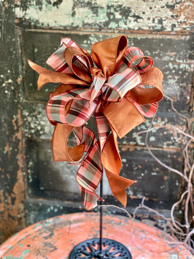 The Louise Copper & Teal Fall Bow for Wreaths And Lanterns~Fall decor, Mailbox Bow, Swag bow, Farmhouse Bling bow, Autumn Bow, Plaid Bow
