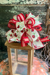 The Hilde Red & Tan Ladybug Bow for Wreaths and Lanterns, Mailbox Bow, Swag bow, Farmhouse bow, Summer Bow