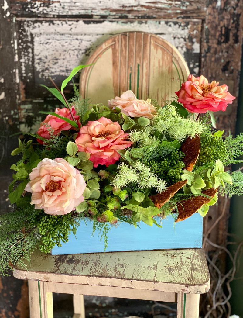 The Ada Coral & Peach Rose Garden Farmhouse Centerpiece For Table, Summer arrangement, Rustic arrangement, cottage centerpiece