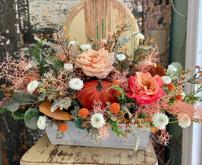The Juno Coral & Peach Rose Pumpkin Farmhouse Centerpiece For Table, Rustic summer floral, French country fall cottage centerpiece