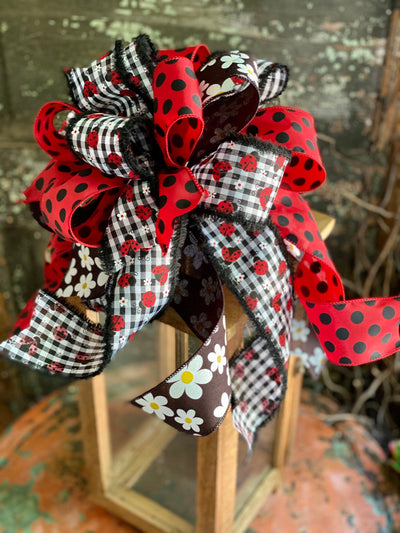 The June Red Black & White Ladybug Bow for Wreaths and Lanterns, Mailbox Bow, Swag bow, Farmhouse bow, Summer Bow