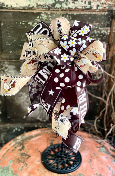 The Luanne Black Tan & White Farmhouse Summer Bow for Wreaths And Lanterns, Mailbox Bow, Swag bow, Farm animal bow, Country Bow