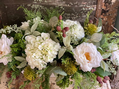 The Lydia Rustic Farmhouse White Centerpiece For Table~All season centerpiece~Natural green arrangement~white hydrangea wedding florals