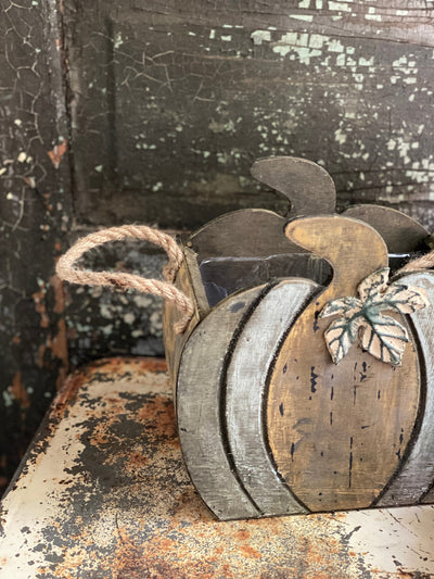 Farmhouse wood pumpkin container with rope handles~Rustic primitive decor~fixer upper decor~pumpkin shaped planter