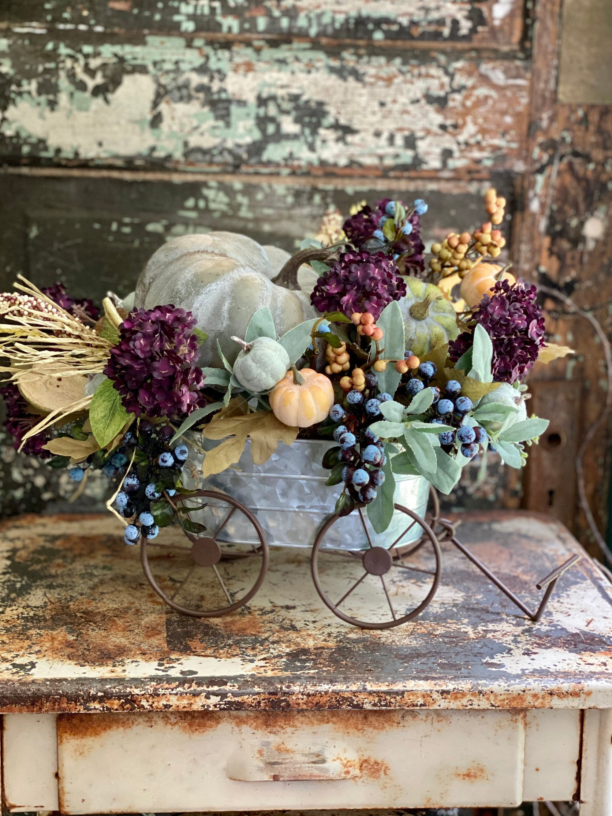 The Jewell Fall Wagon Centerpiece For Table, Summer fall arrangement, Rustic arrangement, Purple & cream autumn centerpiece