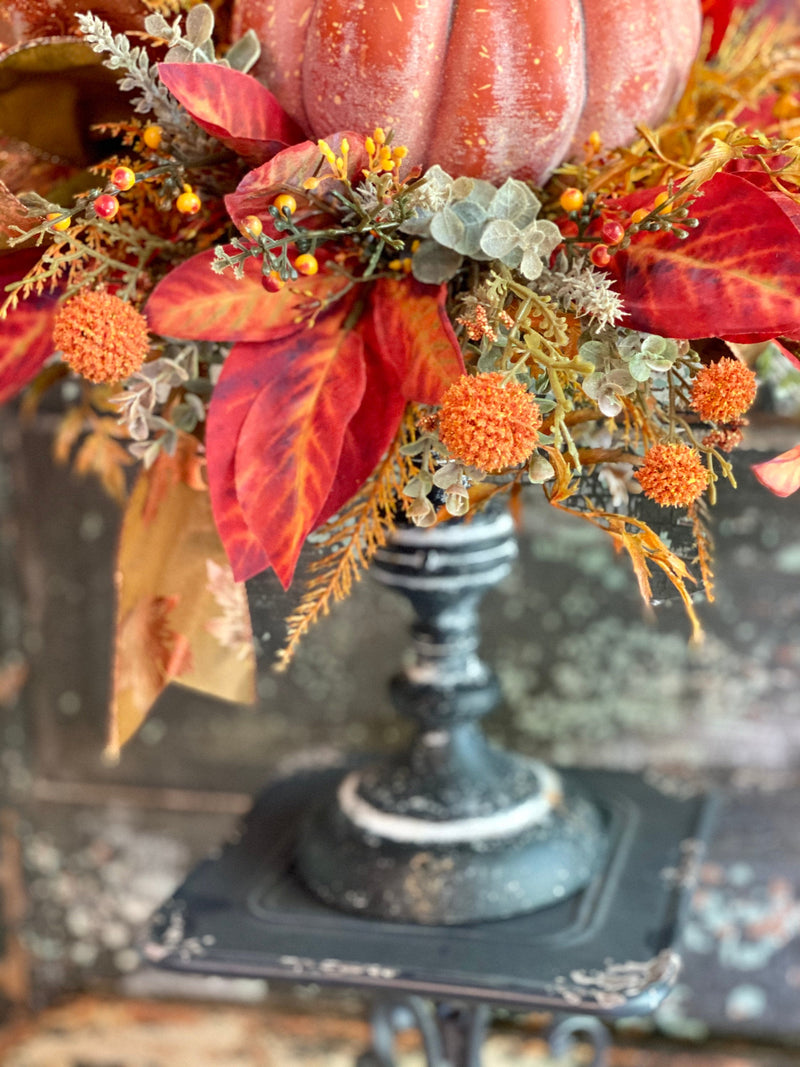 The Augustine Candlestick Centerpieces For Table, fall arrangement, Rustic arrangement, orange copper autumn centerpiece, Mantle decor