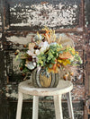 The Allison Cream & Green Farmhouse Pumpkin Centerpiece For Table, Fall arrangement, tabletop arrangement, Kitchen Centerpiece