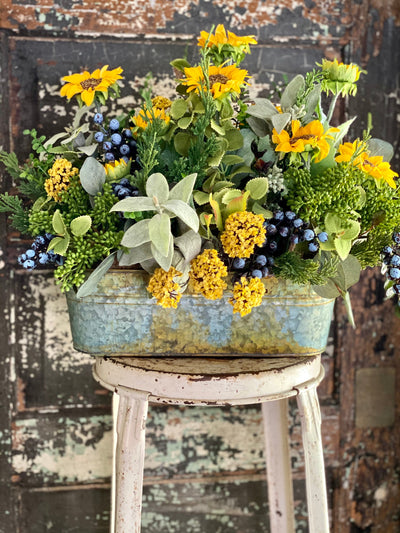 The Suzanne Sunflower & Blueberry Garden Farmhouse Centerpiece For Table, Summer arrangement, Rustic arrangement, wildflower