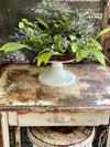The Kinley White Distressed Metal Pedestal Stand~Farmhouse candle stand~shabby chic decor~small tray stand~Cottage decor