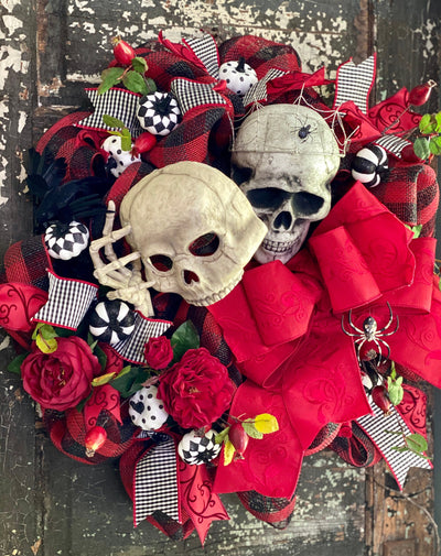 The Cruella Red Black & White Halloween Skull Wreath For Front Door~Scary halloween wreath~Skull with Tiara wreath~Spooky Halloween Wreath