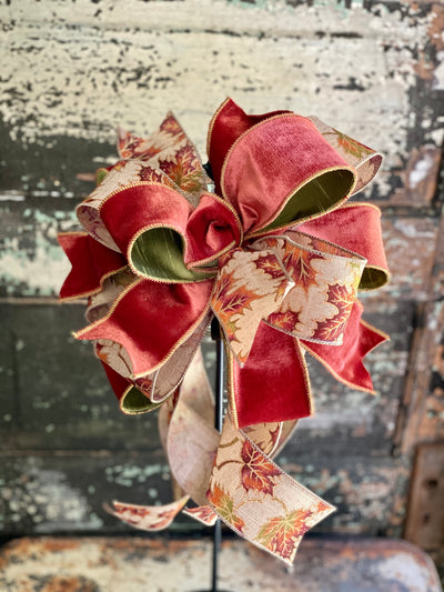 The Rita Russet & Tan Fall Bow For Wreaths and Lanterns~ Leaf Bow, autumn bow, mailbox bow, country farmhouse bow~swag bow