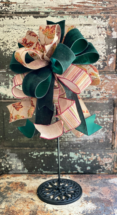 The Andie Orange Plum & Green Fall Bow For Wreaths and Lanterns~ leaf Bow, autumn bow, mailbox bow, country farmhouse bow~swag bow