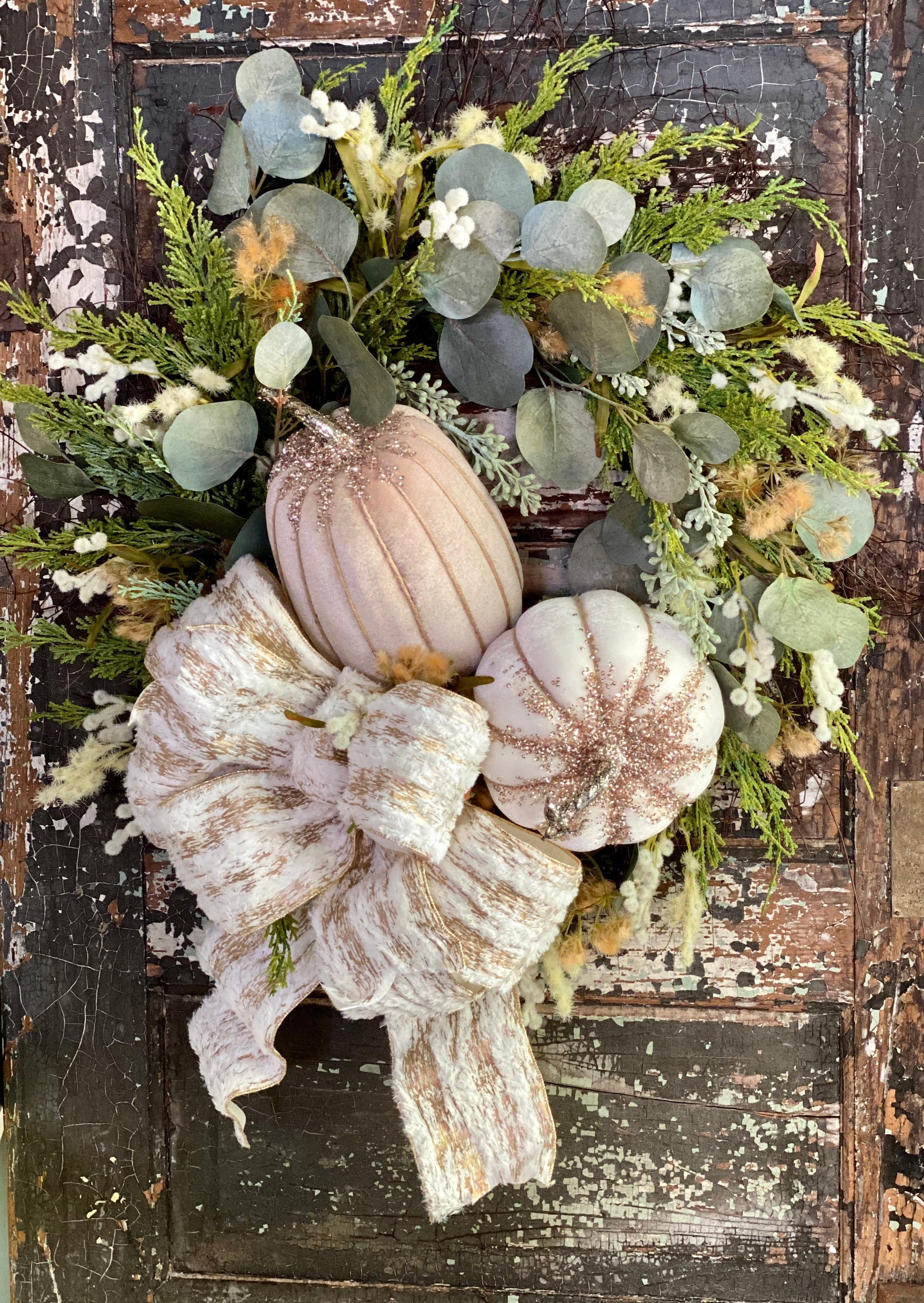 The Vivienne Cream & Tan Fall Pumpkin Wreath For Front Door~French country cottage wreath~Farmhouse rustic glam wreath