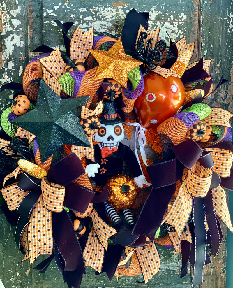 Mr BooJangles Orange Black & White Halloween Wreath For Front Door~Scary halloween wreath~Skeleton wreath~Spooky Halloween Wreath