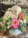 The Miranda Cream & Pink Shabby Chic Halloween Centerpiece For Table, Jeweled skull arrangement, Elegant halloween decor, pink white roses