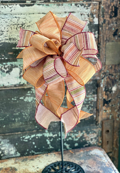 The Juliann Copper & Plum Fall Bow For Wreaths and Lanterns~ shimmer Bow, autumn bow, mailbox bow, country farmhouse bow~swag bow