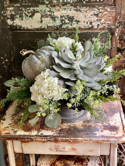The Dion Cream & Green Fall Centerpiece For Table, cottage arrangement, hydrangea and pumpkin farmhouse raised centerpiece