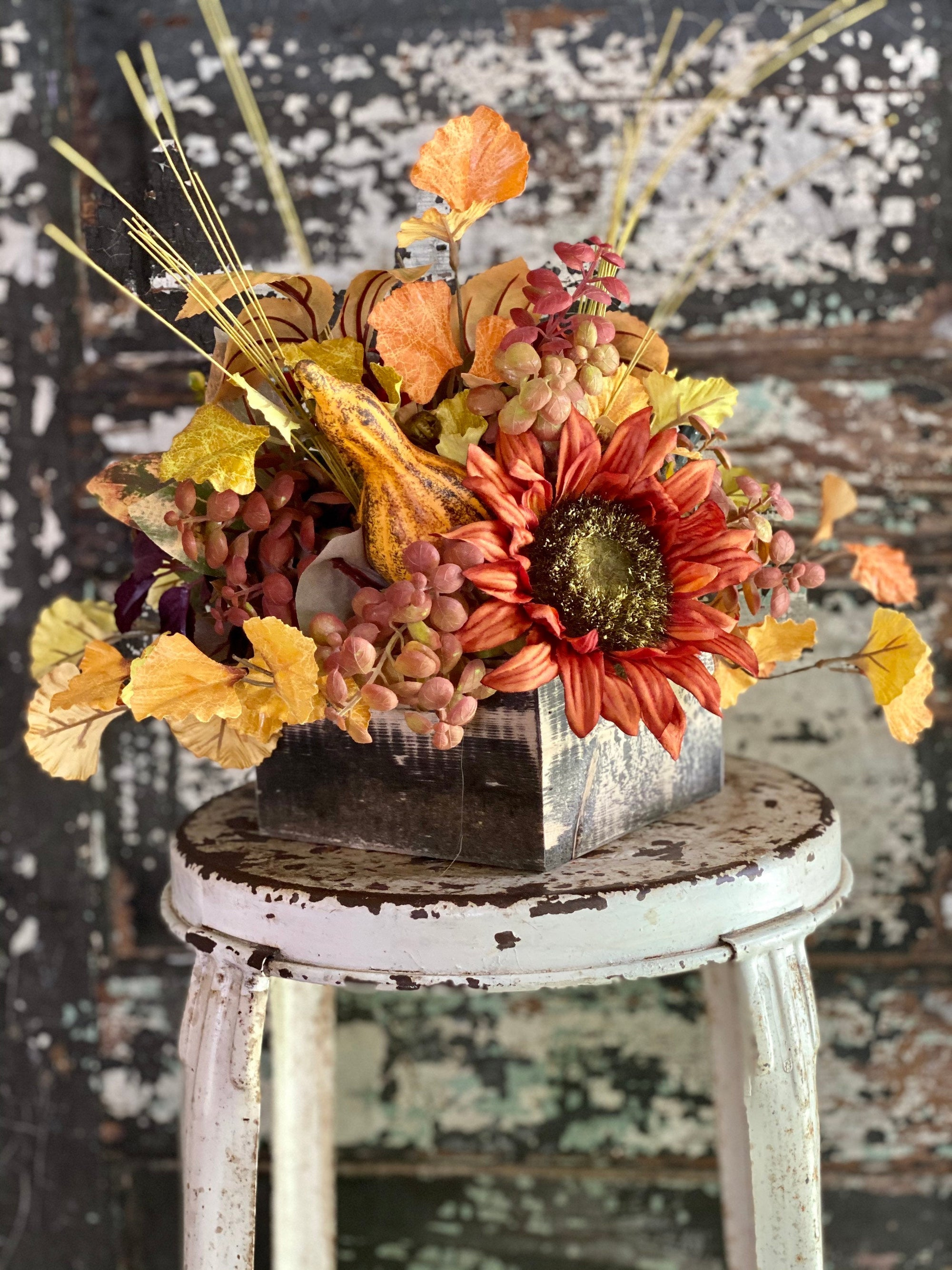 The Ellen Fall Pumpkin Centerpiece For Table, Sunflower fall arrangement, Rustic arrangement, Orange green autumn centerpiece