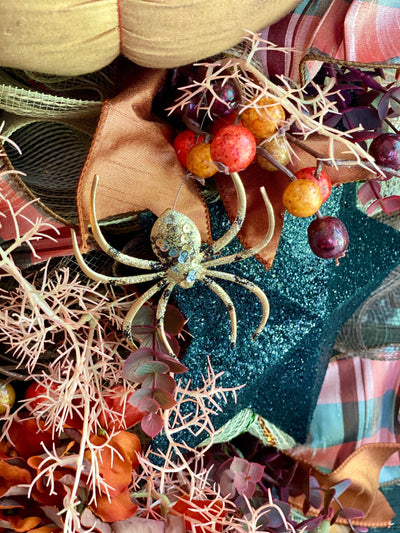 The Owlivia Copper & Orange Halloween Swag For Front Door~halloween wreath~Spooky Halloween Wreath~Autumn Swag with pumpkin