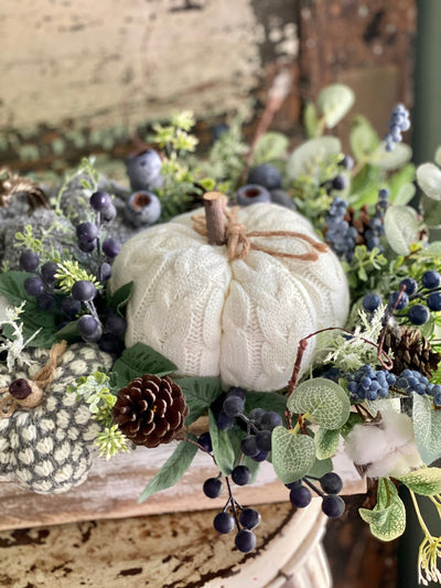 The Charlotte White Blue & Gray Fall Pumpkin Centerpiece For Dining Room Table~Thanksgiving centerpiece~Rustic Farmhouse arrangement