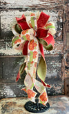 The Pauline Orange & Green Fall Bow For Wreaths and Lanterns~ Pumpkin Bow, autumn bow, mailbox bow, country farmhouse bow~swag bow