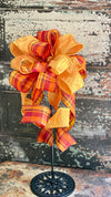 The Irene Orange & Yellow Fall Bow For Wreaths and Lanterns~ Plaid Bow, autumn bow, mailbox bow, country farmhouse bow~swag bow