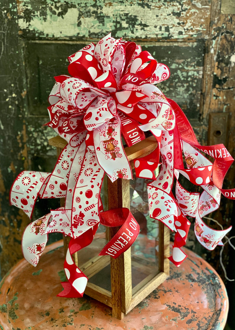 The Candi Red & White Peppermint Christmas Bow, bow for lantern, bow for wreaths, long streamer bow for mailbox, christmas decor