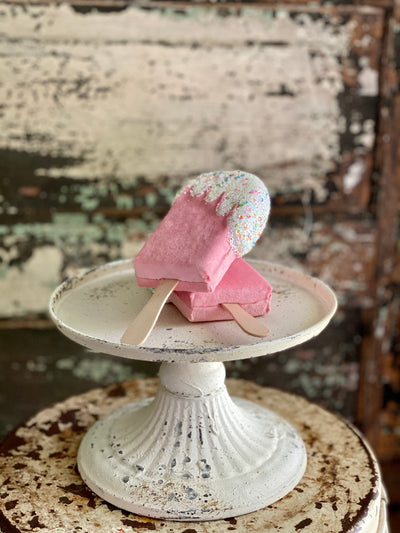 Glitter sprinkle popsicle ornament, Christmas Bakery decor~Fake bake pink white creamsicle decor~Xmas Candy~Christmas decor