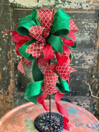 The Jingle Red & Green Christmas Bow For Wreaths~Xmas bow for lantern~Glittering Christmas bow~swag bow~Traditional Christmas decor