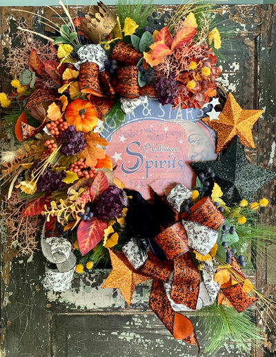 The Lumi Halloween Fall Wreath For Front Door~Black orange plum wreath~Moon & stars wreath~All hallows eve wreath
