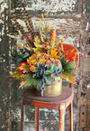 The Tempest Orange & Yellow Pumpkin Farmhouse Centerpiece For Table, Summer fall arrangement, Rustic arrangement, summer to fall transition