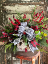 The Evangeline Rustic Christmas Centerpiece For Dining Table~farmhouse winter pine arrangement~Red berry arrangement for kitchen table